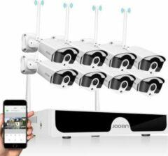 Witte Eve Audio CCTV - Beveiligingscamera set met 8 Camera's Outdoor Buiten +2TB geheugen - Home Security Camera Systeem - Wifi Camera Set - Video + Audio-opname - Beveiligingscamera - 8 Camera's - Nachtzicht - Motion Detector