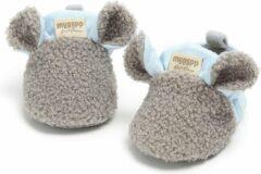 Schattige en warme Myggpp baby slofjes met anti slip zool blauw/grijs 0-6 mnd/11 cm