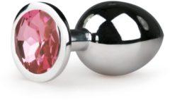 Zilveren EasyToys - Metalen buttplug met roze kristal, intens een gevuld gevoel, uitermate geschikt voor tempature play - zilverkleurig