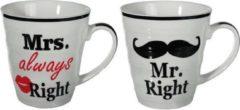 123 Kado koffiemokken Mr Right en Mrs Always Right beker set voor hem en haar - cadeau set/gift set - Huwelijk/Bruiloft/Valentijnsdag