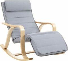 ''merkloos'' Relaxstoel - Ligstoel - Comfort - Basic - Houten Frame - Grijs - 67x125x91
