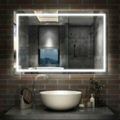 Aica Sanitair Badkamerspiegel 140x80cm LED spiegel met verlichting,wandspiegel,enkele touch schakelaar,anti-condens,koud wit