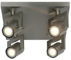 Roestvrijstalen Freelight Spot Valvoled mat chroom 4 lichts vierkant