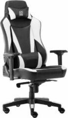 Game Hero x LC-Power Gaming Stoel - Bureaustoel - Verstelbare Armleuningen - Stoel Met Hoofdkussen - Game Stoel - Zwart/Wit