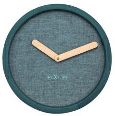 NeXtime NE-3155TQ Wandklok Dia. 30 Cm, Hout & Stof, Turquoise, 'Calm'