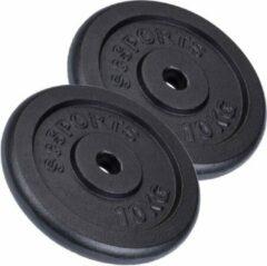 ScSPORTS® Halterschijven - 2 schijven van 10 kg - Gietijzer - Ø boring 30/31 mm - Zwart