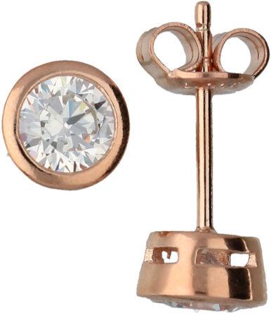 Afbeelding van Classics Zilveren Oorknoppen met Zirkonia 4,0 mm Rosé-goudkleurig 106.0541.04