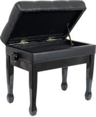 Innox PB 50BK pianobank gloss zwart, zwart leer