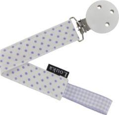 Paarse Louka speenkoord wit met kleine lila stip de luxe - houten clip