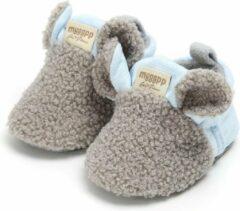 Schattige en warme Myggpp baby slofjes met anti slip zool blauw/grijs 6-12 mnd/12 cm