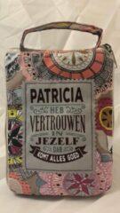 Blauwe History&heraldy Shopper bag dames met leuke tekst PATRICIA HEB VERTROUWEN IN JEZELF DAN KOMT ALLES GOED winkeltasje Wordt geleverd in cellofaan met linten