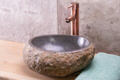 Saniclear riviersteen waskom set incl. hoge kraan koper