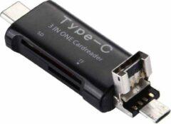 Let op type!! 3 in 1 USB-C / Type-C 3.1 naar USB 2.0 + Micro USB + SD(HC) + Micro SD Card Reader-Adapter voor Samsung Galaxy S8 & S8 PLUS / LG G6 / Huawei P10 & P10 Plus / Xiaomi Mi6 & Max 2 nl andere Smartphones(zwart)