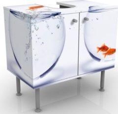 PPS. Imaging Waschbeckenunterschrank - Flying Goldfish - Badschrank Weiß