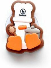 Canar Eend Tandenborstel Houder voor Kinderen met Zuignap - Wit Kok