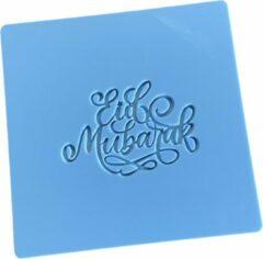 Lichtblauwe LaserBabes.nl Fondant stempel Eid Mubarak - marsepein stempel - koekjesstempel - bakken - koekjes bakken - fondantstempel - Suikerfeest