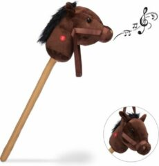 Bruine Relaxdays stokpaard met geluid - stokpaardje - speelgoed paard op stok - hout - pluche