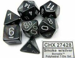 Chessex Borealis Smoke/silver Polydice Dobbelsteen Set (7 stuks)