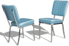 Bel Air Retro Fifties Furniture Bel Air Retro Eetkamerstoel CO-25 Blauw