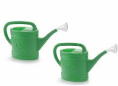 Forte Plastics 2x stuks groene tuin planten gieter met broeskop 6 liter - Planten water geven - Kunststof - 53 x 15 x 32 cm