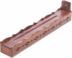 Bruine Puckator Sheesham hout wierook houder, doosje met lijst werk en uitgesneden