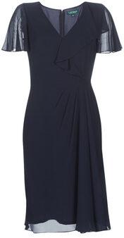 Afbeelding van Lauren Ralph Lauren Cutler jurk donkerblauw met volant en plooi detail