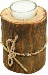2x Elegante stoere houten boomstam kaarsenhouder schijf bruin 'Kelly' Lumbuck - waxinelichthouder M - Hout glas