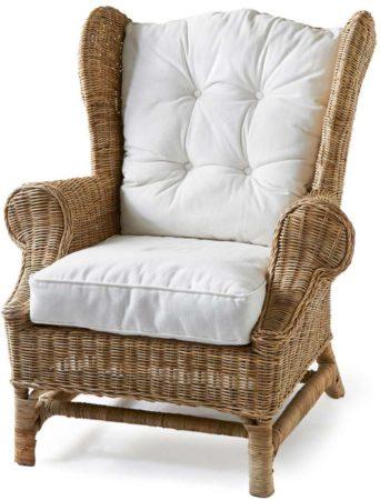 Afbeelding van Bruine Riviera Maison Fauteuil Nicolas Wing Chair - Rattan - Katoen - Rivièra Maison