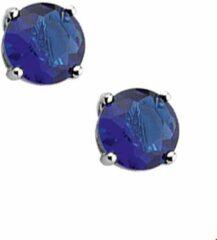 Huiscollectie TFT Oorknoppen met blauw topaas/aqua Zirkonia Zilver Gerhodineerd Glanzend 4mm