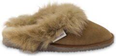 Bruine Texelana sloffen en pantoffels voor dames & heren - pantoffel / instapper / slipper van schapenvacht met bontrand - model Reina - maat 36