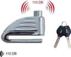 Zilveren Vinz Elbroes Schijfremslot / Remschijfslot met Alarm / Motorslot / Scooterslot – 6 mm
