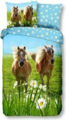 Groene Herding Good Morning-Dekbedovertrek Haflingers bloemenweide- 140x220- 1persoons- meisjes , jongens dekbed.