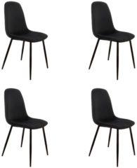 Zwarte PoleWolf - Blossom chair - Velvet - Black - Promotion - Set of 4