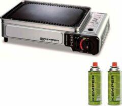 Zilveren Kemper Smart grill - draagbare gasbarbecue met 2 gasflessen