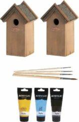 Lifetime 2x stuks houten vogelhuisjes/nestkastjes 22 cm - in het zwart/geel/lichtblauw - Dhz schilderen pakket + 3x tubes verf en kwasten