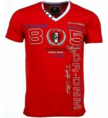 David Copper Italiaanse T-shirt - Korte Mouwen Heren - Borduur Automobile Club - Rood Heren T-shirt XL