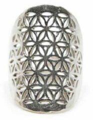 Spiru Verstelbare Ring Flower of Life Zilverkleurig (30 mm)