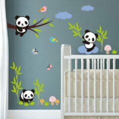Paarse Home Deco Muursticker Dieren - Panda's en bamboe - 30x90 cm