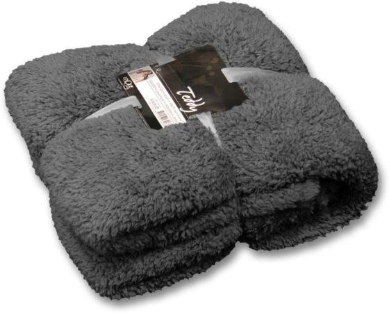 Afbeelding van Unique Living Teddy fleece plaid - 100% polyester, Fleece polyester - 150x200 cm - Grijs, Donkergrijs