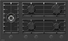 Zwarte Wiggo WH-G935GR(B) Serie W Inbouw gaskookplaat met Wok 90cm