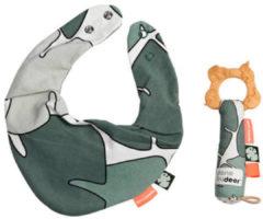 Groene Done by Deer Tiny Tropics Giftset Bib & Teether