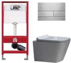 Douche Concurrent Tece Toiletset - Inbouw WC Hangtoilet wandcloset - Alexandria Flatline Rimfree Tece Square RVS Geborsteld