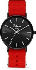 Colori XOXO 5 COL554 Horloge geschenkset met Armband - Nato Band - Ø 36 mm - Rood / Zwart