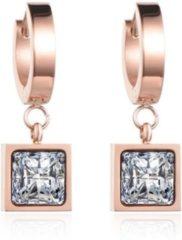Roze Cilla Jewels Damesoorbellen met Vierkante Zirkonia Steen
