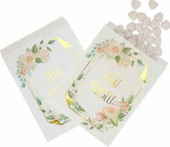 Roze Feestdeco Snoepzakjes Treat Yourself - 25 stuks - Floral | Bruiloft - Communie - Kinderfeestje