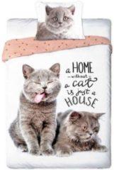 Bruine Faro Dieren dekbedovertrek - Best Friends - 2 poezen / katten- eenpersoons met 1 kussensloop - 100% katoen