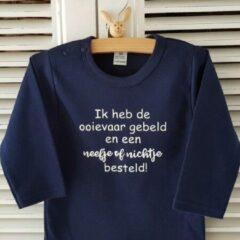 Blauwe Merkloos / Sans marque Baby shirt cadeau jongen meisje tekst ooievaar gebeld broertje zusje zwangerschap aankondigen Baby shirt cadeau jongen meisje tekst eerste moederdag mama vaderdag papa Baby T-shirt Maat 80