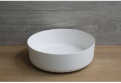 Waskom Opbouw Rond Luca Sanitair 42x42x13,5 cm Solid Surface Mat Wit