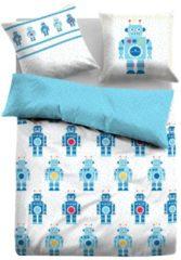 TOM TAILOR TOM TAILOR Unisex Bettwäsche mit Roboter-Motiven, jeans, Größe: 135/200, blau, unifarben mit Print, Gr.135/200