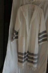 Merkenloos Badjas Wit met zwarte strepen en capuchon (S/M)